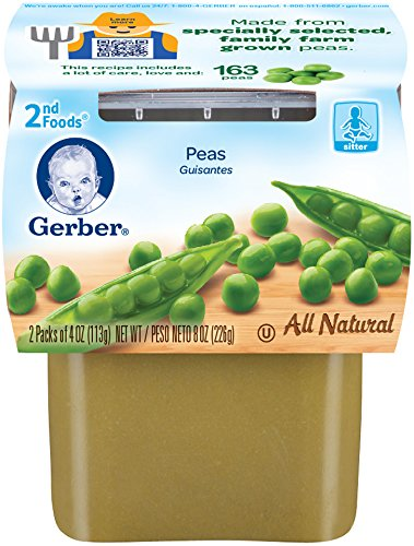 Gerber 2nd Foods Peas, 4 oz Tubs, 2 Count (Pack of 8)