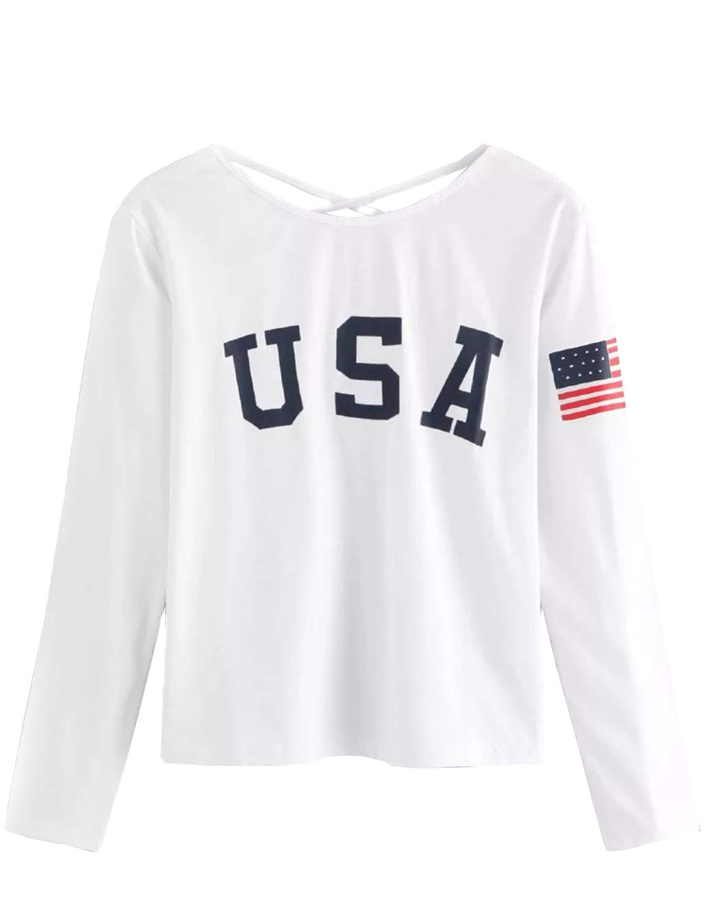 SZT Sweatshirts Teen Girls USA American Flag Jacket Crop Top Letter Print Cropped Hoodie Pullover Jumper Sweater (C-White, M)