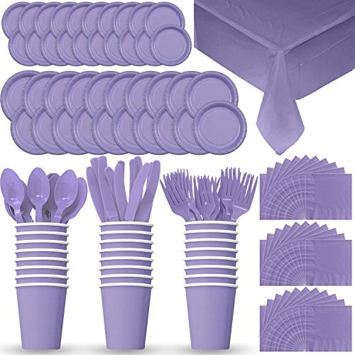 Purple Cutlery (Disposable Paper Dinnerware for 24 - Lavender - 2 Size plates, Cups, Napkins , Cutlery (Spoons, Forks, Knives), and tablecovers - Full Party Supply Pack)
