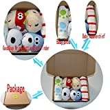 GoodOkay 4-Piece Baby Infant Soft Toy [Cow and Dog] Animal Wrist Rattle and Foot Finder Developmental Soft Toy Set with baby Cotton Bibs
