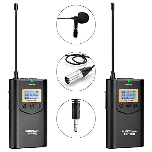 Comica CVM-WM100 UHF 48 Channels Professional Omnidirectional Wireless Lavalier Microphone System for Canon 5D II/5D III, Canon 6D, Panasonic GH5/GH4, Camcorder,Smartphone(328-foot Range) ()