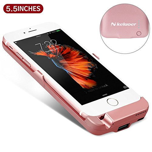 iPhone 6S Plus Battery Pack - iPhone 6 Plus Battery Case (5.5 Inch), Keluoer Portable iPhone Battery Charger Protective Charging Cases 8200mAh Capacity Power Bank (Rose Gold)
