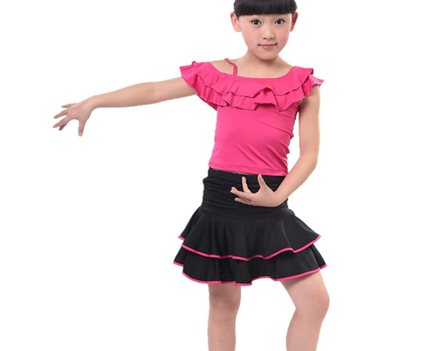 Children girls Latin set T-shirt + skirt Cha Cha skirts Tango dress