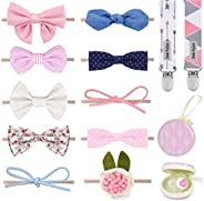 Dodo Newborn Hair Bows – Set of 10 Girl Colorful Hair Bows with Pacifier Clips and Case Excellent Baby Shower/