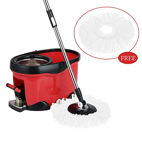 IKAYAA Easy Wring 360 Rolling Spin Mop with 2 Microfiber Mop Heads