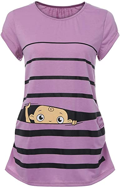 QinMM Camiseta de Maternidad a Rayas Gracioso Camisa Mujer Blusa Embarazadas Premamá Primavera otoño veranos Tops: Amazon.es: Ropa y accesorios