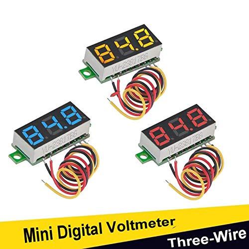 Voltímetro LED mini voltímetro digital de 3 piezas, 0,28 pulgadas, 3 cables DC 0 – 100 V, indicador de pantalla de polaridad inversa protección y medición de presión precisa (rojo, amarillo, azul) Goosky