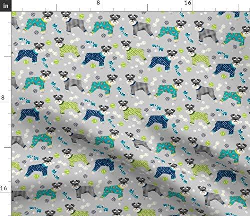 Spoonflower Schnauzer Fabric - Schnauzer Schnauzers Pyjamas Pajamas Jammies Dogs Dog Pet Portrait Gift by Petfriendly Printed on Fleece Fabric by The Yard