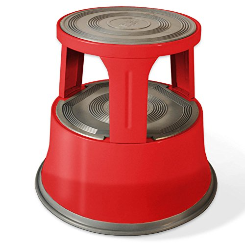 casa pura Steel Red Kick Stool | Premium Rolling Step Stool with Non-Slip Rubber Platform | Dent & Rust-Proof | 330 LBS Load Capacity - Large Round Step