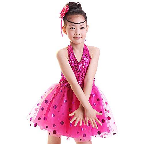 Gonna Danza Dancewear Con Paillettes Rosa Senza Abito Costume Rosso Jazz Moderni Bozevon Ragazze Bambini Maniche Latino Fqa74