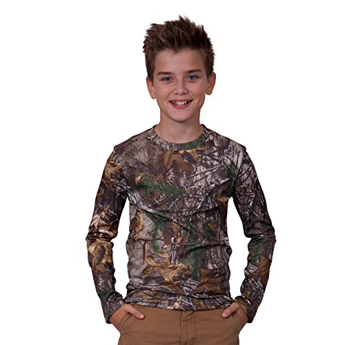 Realtree Boys Long Sleeve Performance T-Shirt, Small, Realtree Xtra