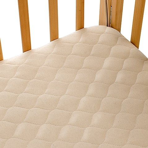 Organic Cotton Porta-Crib Mattress Pad Cover with Waterproof Back Layer