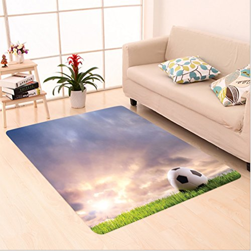Nalahome Custom carpet n Soccer Ball on Green Grass Dark Clouds Sunrise Meadow Landscape Picture Print Blue Green White area rugs for Living Dining Room Bedroom Hallway Office Carpet (5' X 7') by Nalahome