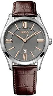 Hugo Boss Mens Ambassador Brown Leather Strap Watch 43mm 1513041