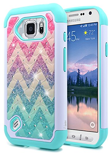 NageBee [Glitter Diamond] Case Compatible with Samsung Galaxy S6 Active G890 [Hybrid Protective] Armor Soft Silicone Cover with [Studded Rhinestone Bling] Design Hard Case (Wave)