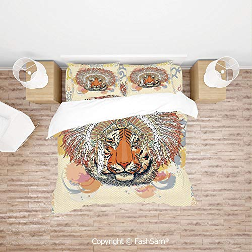 FashSam Duvet Cover 4 Pcs Comforter Cover Set African Safari Tiger Portrait with Native American Chef Feathers Bohemian Design for Boys Grils Kids(Queen)