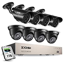 ZOSI 1080P Security Camera System H.265+ 1080P 8CH HD-TVI Video DVR Recorder with 8PCS 2.0MP Bullet and Dome Weatherproof CCTV Cameras, Motion Alert, Smartphone, PC Remote Access, 1TB Hard Drive