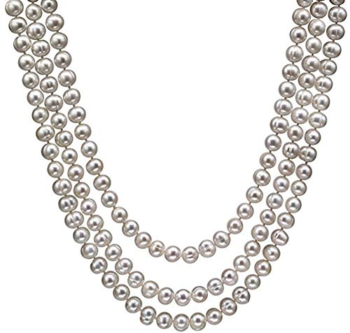 HinsonGayle Handpicked 9-9.5mm Iridescent White Circl Baroque Freshwater Cultured Pearl Rope 65