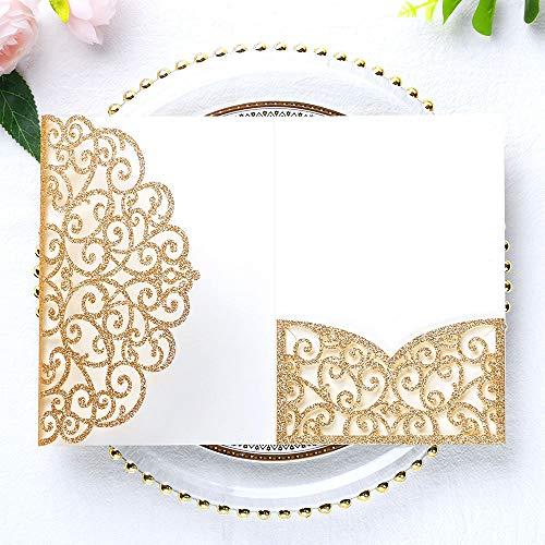 PONATIA 5.12 x 7.2 Inches 20PCS Tri-Fold Laser Cut Wedding Invitation Pocket with Envelopes for Wedding Bridal Shower Engagement Birthday Invite (Gold Glitter, 20pcs No Inner Sheet)