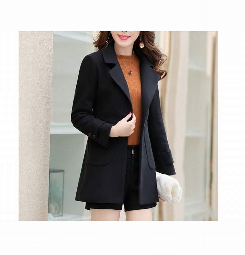 Black Women's Clothes  Loose Large Size Suit Collar Jacket, One Button Slim Woolen Windbreaker Jacket. Female Long Section Casual Woolen Cardigan Coat Winter Coat Warm Coat SED