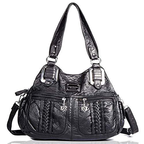 (Angel Barcelo Fashion Satchel Purses and Handbags for Women Shoulder Tote Bags Black)