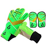 Goalkeeper Goalie Soccer Gloves Kids - Football Goal Keeper Gloves with Shin Guard