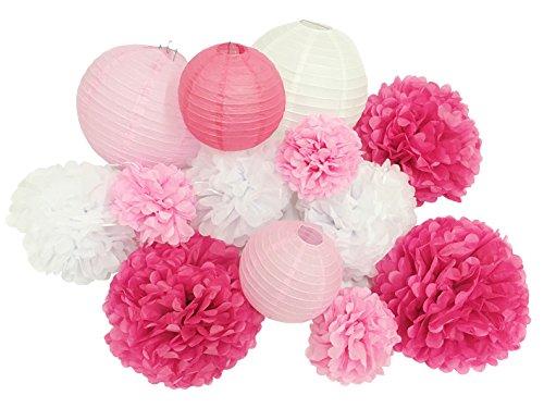 Paper Jazz 13pcs decorative paper pom pom lantern honeycomb ball for wedding birthday baby shower graduation meeting event party decoration(pink white) -