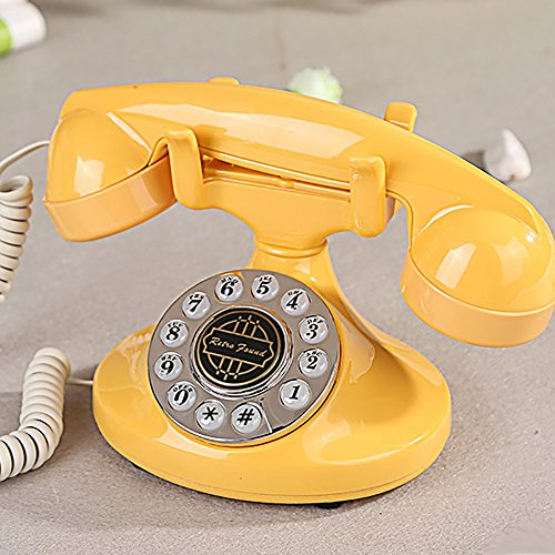 Telephone Retro Cute Girls Antique Phone Fashion Landline Studio Photography Decorative Props (Color : Yellow)