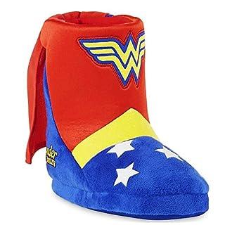 WONDER WOMAN DC COMICS Girls Plush Boot Costume Slippers w/ Attached Cape (Girls 11-12)