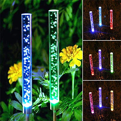 2pcs Outdoor Garden Solar Lights Decorative Acrylic Bubble RGB Color Changing Solar Powered Stake Lights for Garden Backyard Pathway Patio Decoration