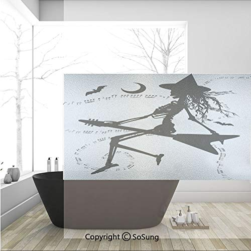 3D Decorative Privacy Window Films,Witch Flying on Electric Guitar Notes Bat Magical Halloween Artistic Illustration,No-Glue Self Static Cling Glass film for Home Bedroom Bathroom Kitchen Office 36x24 -
