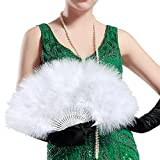 BABEYOND Roaring 20s Vintage Style Folding Handheld Marabou Feather Fan Flapper Accessories (White)
