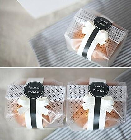 Yunko 100 pcs./Pack translúcido bolsas de plástico para galletas, pasteles, Chocolate, Candy, aperitivos regalo de buena para partido de panadería con ...