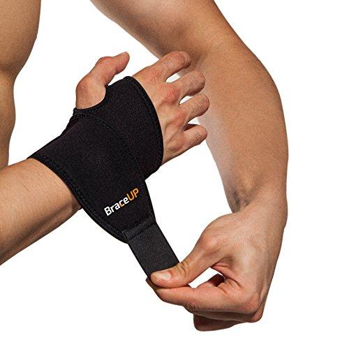 BraceUP Adjustable Wrist Support, One Size Adjustable (Black)