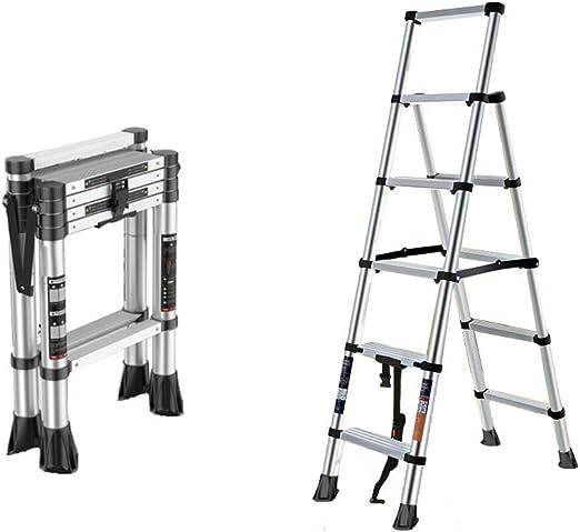 Folding ladder Escalera Plegable de 5 escalones Escalera telescópica Multifuncional Nivel de Carga de 150 kg Diseño telescópico con un botón Conveniente y Conveniente Aspecto de Moda: Amazon.es: Hogar