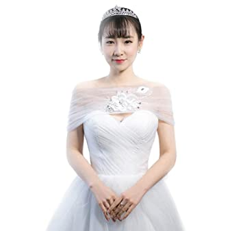 Jungen Mujer Wrap capa robó chal bolero para boda y vestido de fiesta color blanco