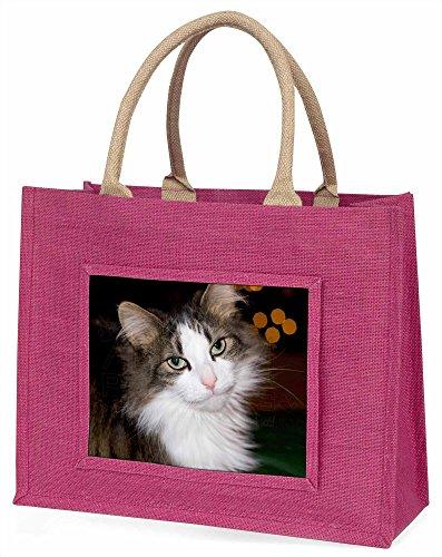 Advanta Beautiful gestromt Katze Große Einkaufstasche Weihnachten Geschenk Idee, Jute, Rosa, 42x 34,5x 2cm