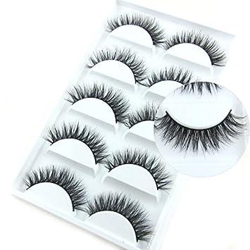 441a9c13072 Amazon.com: Luxurious Mink 3D False Eyelash LASGOOS Degisn Natural Messy  Cross Fake Eye Lashes 5 Pairs/Box (A03): Beauty