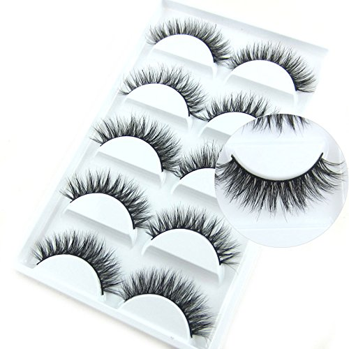 Luxurious Mink 3D False Eyelash LASGOOS Degisn Natural Messy Cross Fake Eye Lashes 5 Pairs/Box (A03)
