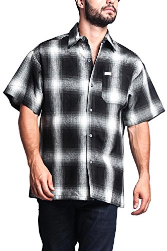 (G-Style USA Western Casual Plaid Short Sleeve Button up Shirt Y2000S - Black - Small)
