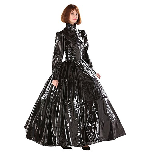 Gocebaby Gothic Punk Cool Black Pvc Ball Gown Dress