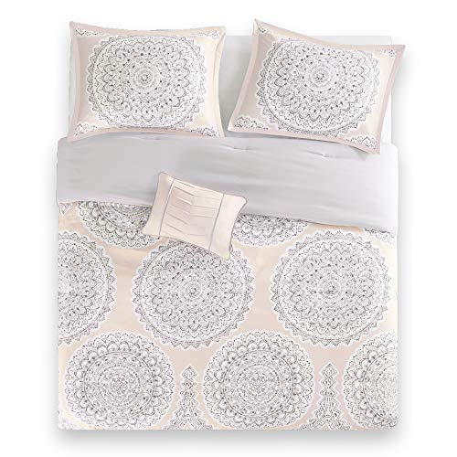 Bed Room Full/Queen Bed Comforter - fits Full and Queen Bed Comforter Set- 4 Piece All Season Bed in a Bag Queen- Blush & Grey - Includes 1 Comforter, 2 Shams & 1 Decorative Pillow - Adele