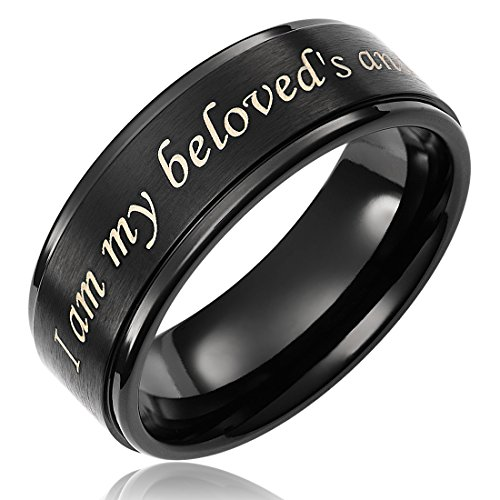 Cavalier Jewelers I am My beloveds ... Purity Ring in Titanium Black (8mm Wide) - Mens & Womens Sizes