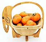 Collapsible Bamboo Fruit and Veggie Basket Expandable Natural Bamboo Fruit Bowl Flat Fruit Stores Holder/Dish/Container To-Go Food Containers (Elephant)