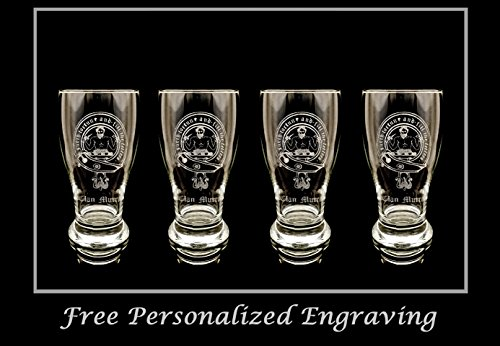 Clan Murray Scottish Crest Pint Glass Set of 4 - Free Personalized Engraving, Family Crest, Pub Glass, Beer Glass, Custom Beer Glass by LyonCraft