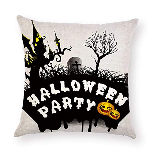 SPXUBZ Black Tree Castle Cross Tombstone Sayings Halloween Party Quotes Pumpkin Flax Throw Pillow Cover Home Decor Nice Gift Square Indoor Linen Pillowcase Standar Size:24x24 in (Two Sides) -