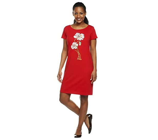 Bob Mackie Floral Embroidered Knit T-shirt Dress A225194 at Amazon ...