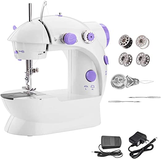 Máquina de coser portátil WADEO Mini máquina de coser con doble ...