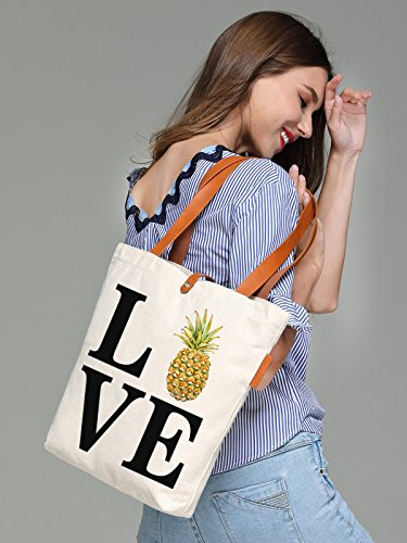 So'each Women's Love Pineapple Letters Graphic Canvas Tote Handbag Shopper Bag
