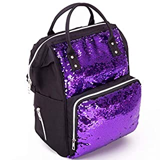Modern Design Special Fabric Diaper Bag Backpack Purple Black Color, Multifunctional Travel Back Pack, Waterproof, Insulated Pockets Stroller Straps (BLACK/PURPLE)